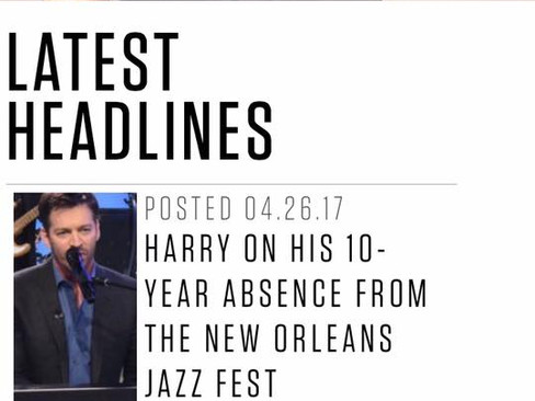 Hey! Hey! My cover story interview is on Harry's website: www.HarryConnickJr.com!