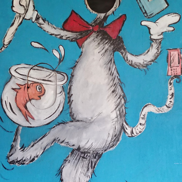 cat in the hat mural