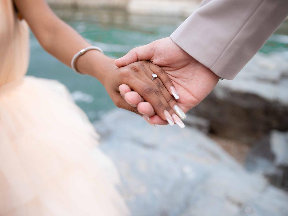 Engagement ring at Great Falls Park, Virginia.