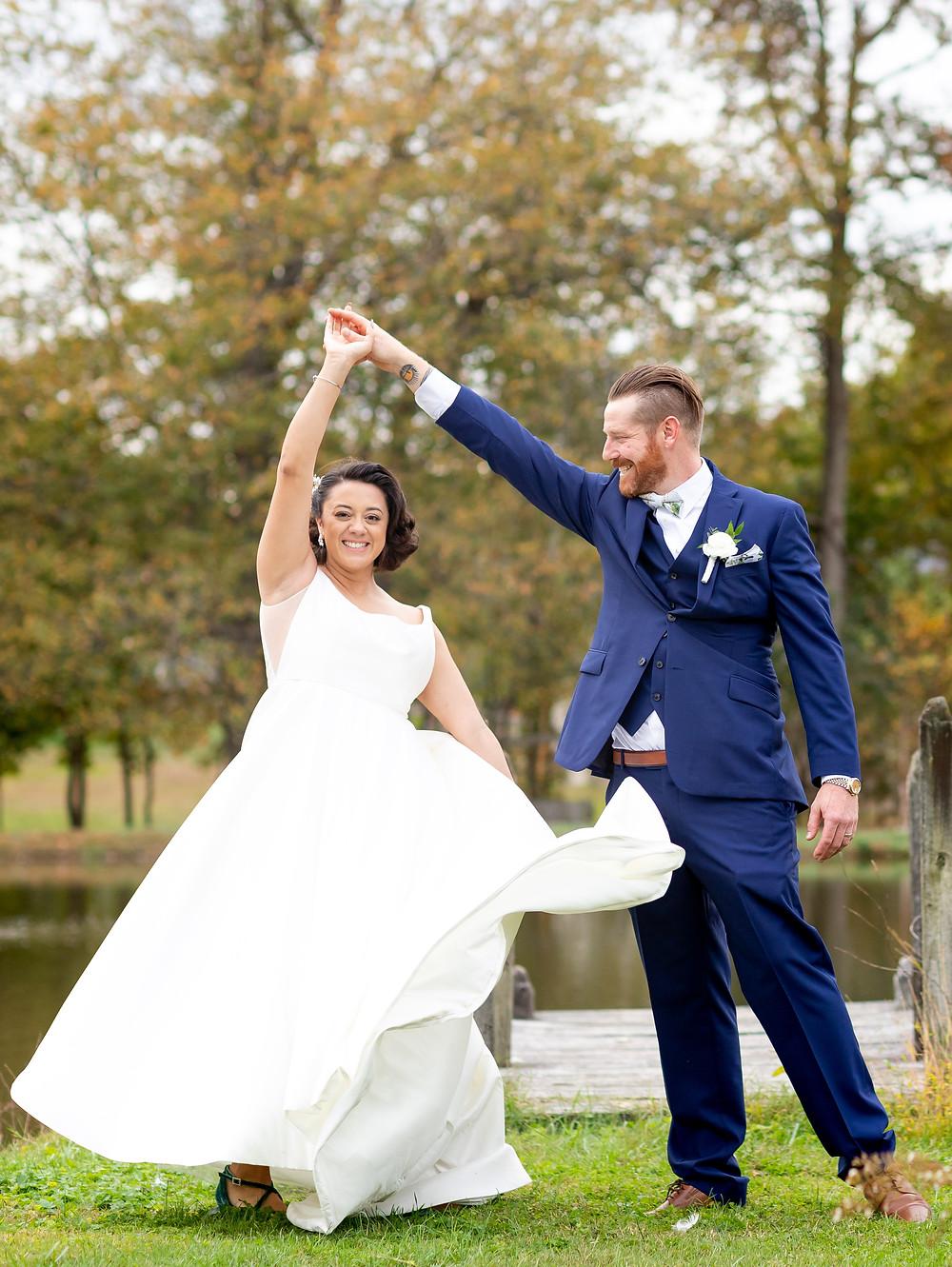 Wedding photography. Bride and groom dancing.
