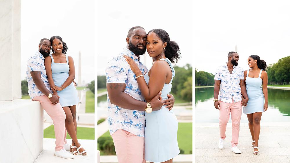 Couples photos at the Lincoln Memorial. Washington, DC lifestyle photographer.