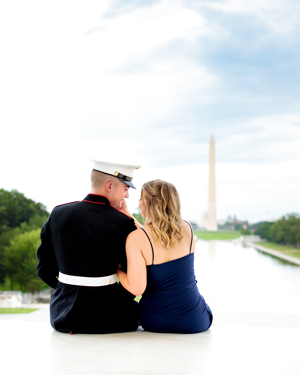 Marine engagement photoshoot at the Lincoln Memorial in Washington, DC