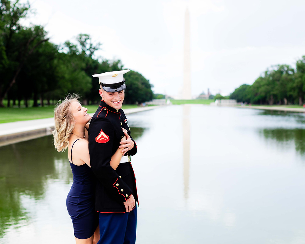 Engagement photography at the Lincoln Memorial Reflecting Pool. Washington, DC engagement photographer.