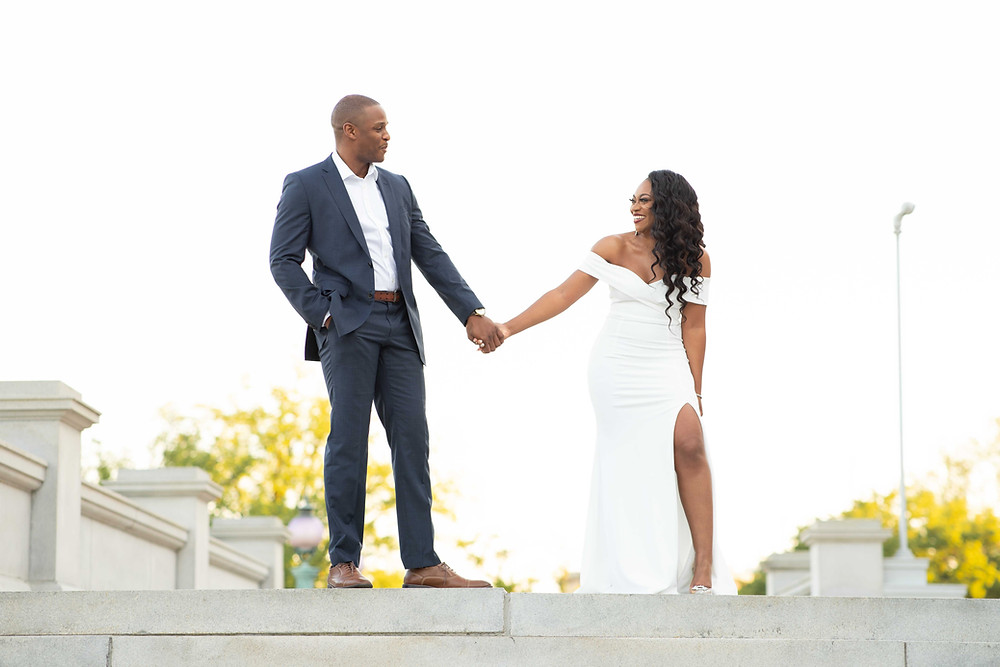 Engagement photos at the Library of Congress in Washington, DC.