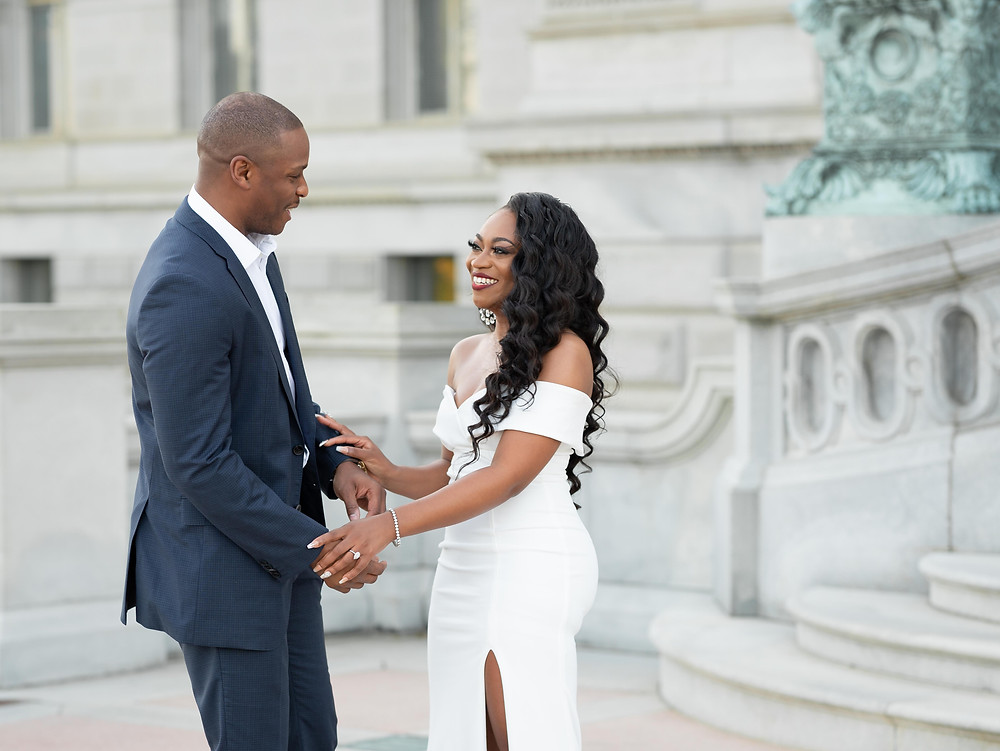 Engagement photography at the Library of Congress in Washington, DC.