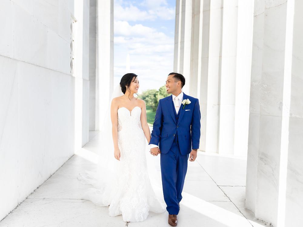 Wedding photography at the Lincoln Memorial. Washington, DC couple walking through Lincoln Memorial.