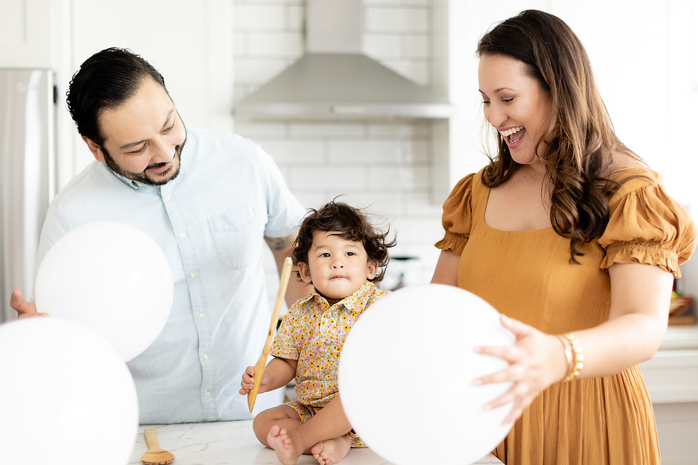 Family photography in DC home to celebrate 1st birthday