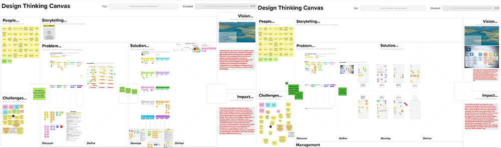 Two screen captures of a design think session