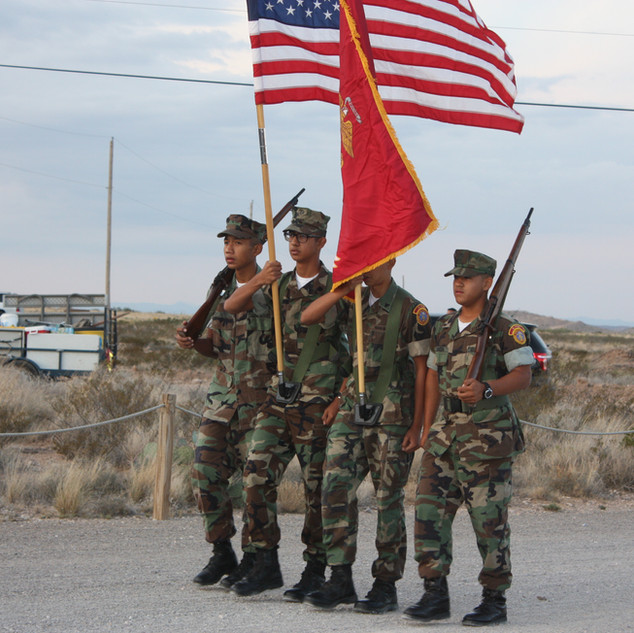 Young MARINES present the colors