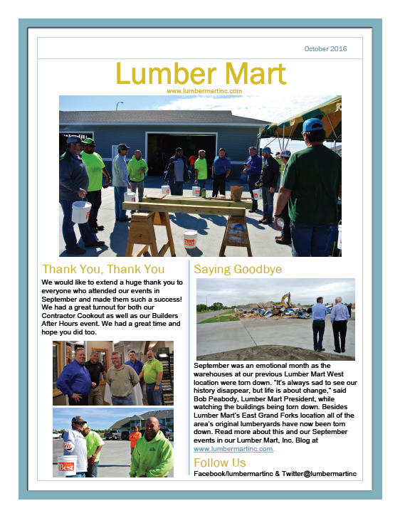 Lumber Mart October Newsletter