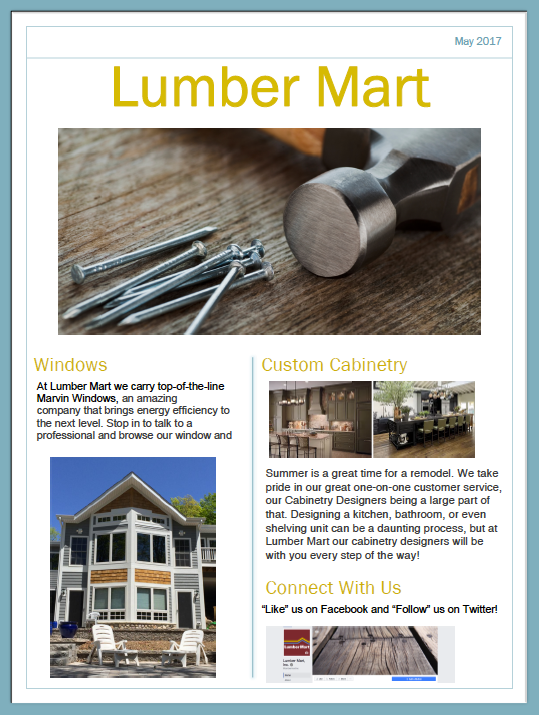 Lumber Mart May Newsletter