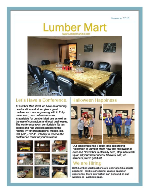 Lumber Mart November Newsletter