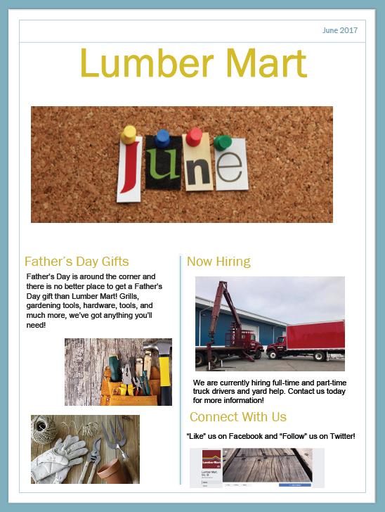 Lumber Mart June Newsletter