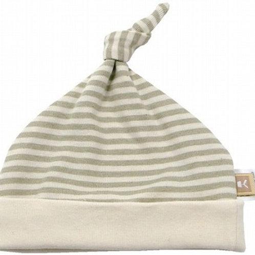 日本製 オーガニック 帽子 新生児用 ボーダー  ベビー小物 グリーン 新生児用