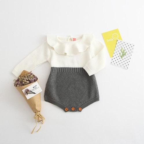ベビーロンパース 赤ちゃんカバーオール ホワイト+グレー 90cm