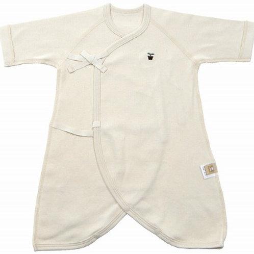 日本製 オーガニック コンビ肌着 無地 50cm 刺繍ワッペン付 新生児肌着