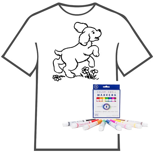 Dog with Flowers Coloring Book T-shirt