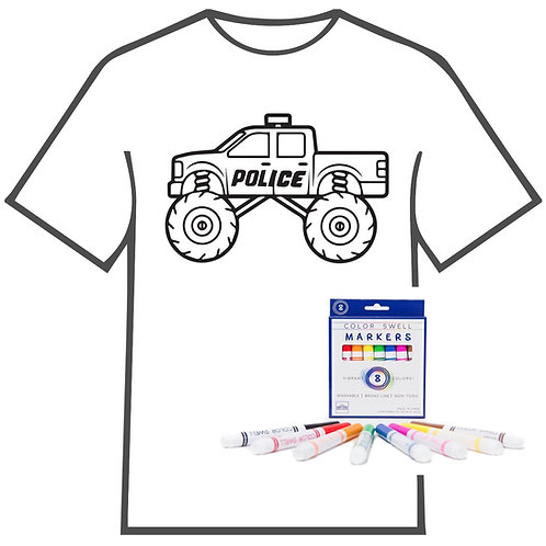 Police Truck Coloring Book T-shirt