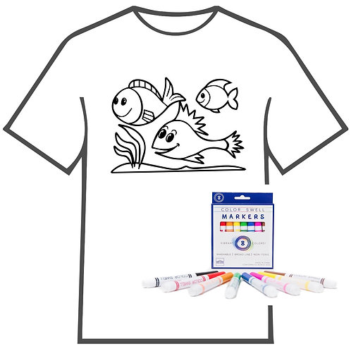 Swimming Fish Coloring Book T-shirt