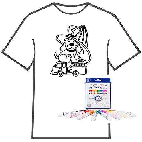 Dog on Firetruck Coloring Book T-shirt