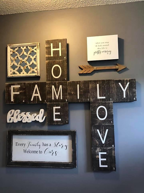 Scrabble Tile Wall Hanging - Create Own Saying