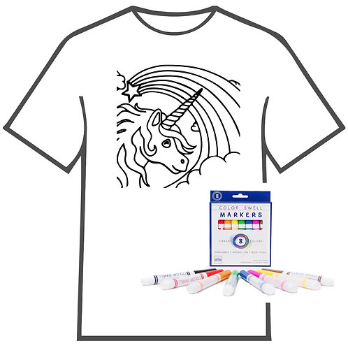 Unicorn with Rainbow Coloring Book T-shirt
