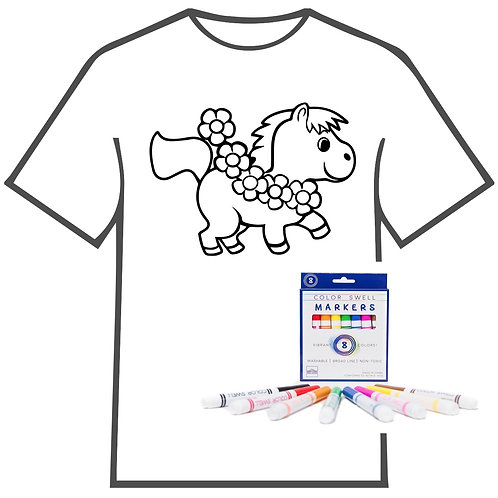 Pony with Flowers Coloring Book T-shirt