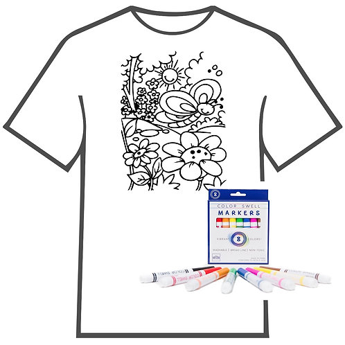 Butterfly and Flowers Coloring Book T-shirt