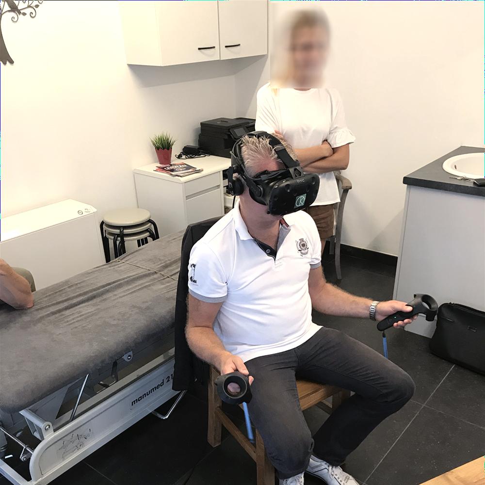 Patient en réalité virtuelle avec KineQuantum