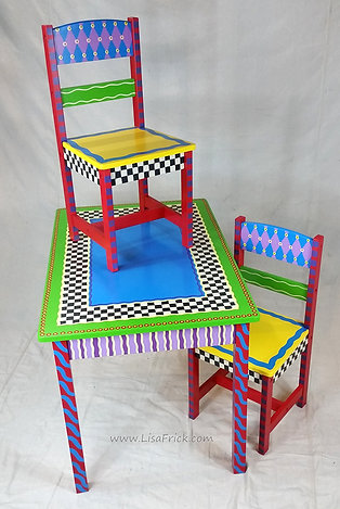 Hand Painted Child's Table and Chairs, Preorder, Hand Painted Furniture