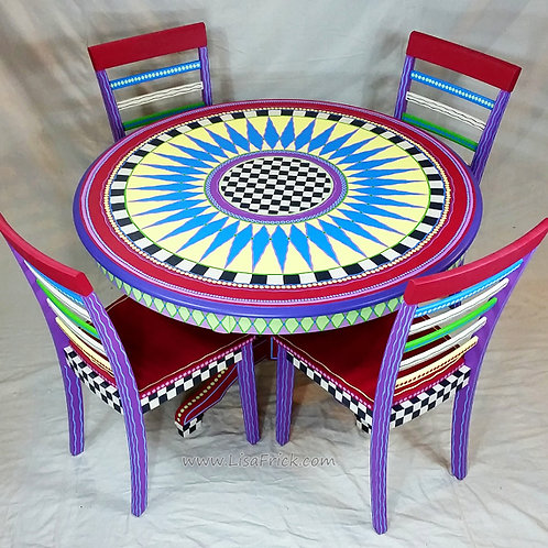 Hand Painted DiningTable and Chairs, Preorder, Hand Painted Furni