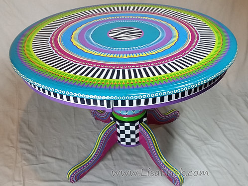 Hand Painted Circular Dining Table, Preorder, Hand Painted Furniture