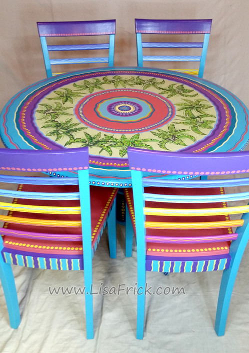 tropical painted furniture table attention this circular hand painted dining table and chairs has been sold but is shown here as an example of my work pedestal measured 48 hand painted tropical table chairs