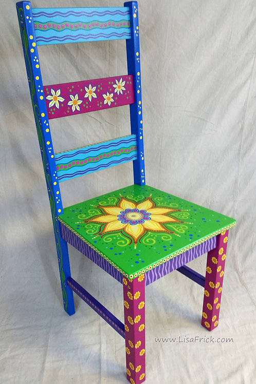Hand Painted Sunflower Mandala Chair, Preorder, Hand Painted Furniture
