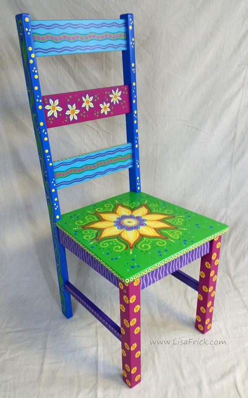 Sunflower Chair hand painted sunflower mandala chair | www.lisafrick - custom