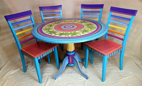 Tropical Painted Furniture Hand Painted Tropical Table And Chairs Furniture D