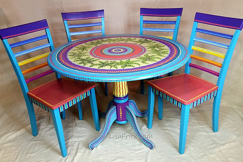 Hand Painted Tropical Table and Chairs, Preorder, Hand Painted Furniture