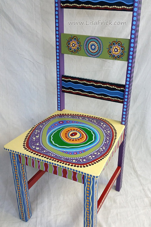 Hand Painted Chair With Asymmetrical Mandala