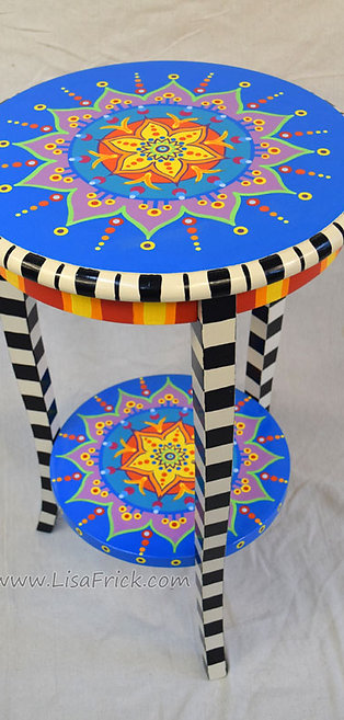 Mandala Side Table With Checked Legs