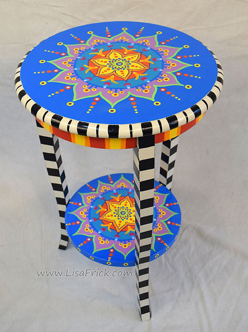 Mandala Side Table, Preorder, Hand Painted Furniture