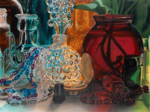 Hobnail Perfume Bottle, Acrylic on Canvas