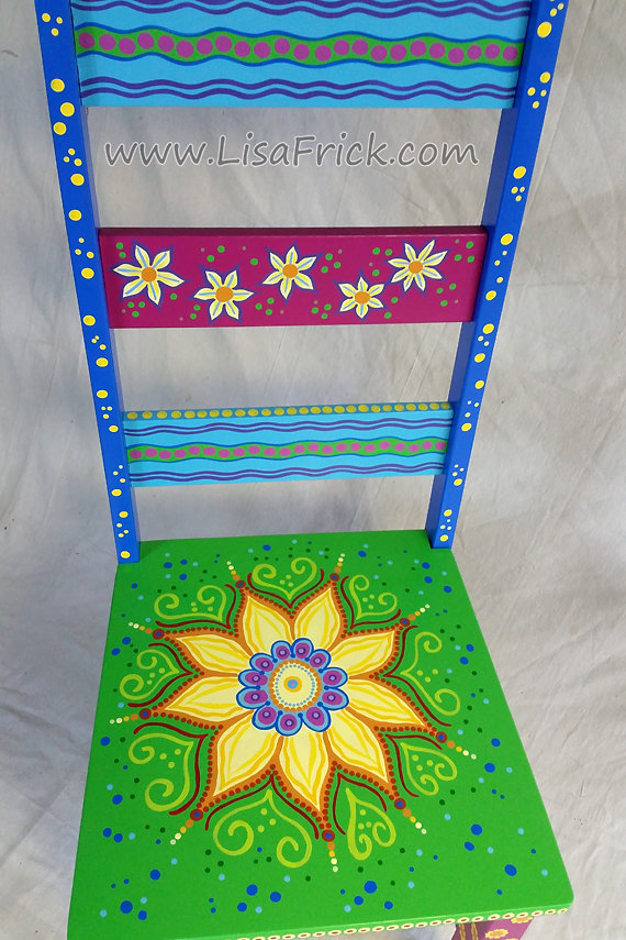 ATTENTION- This hand painted Sunflower Chair was a custom order and has  been SOLD. It is shown here as an example of my work. These cheerful floral  chair ...
