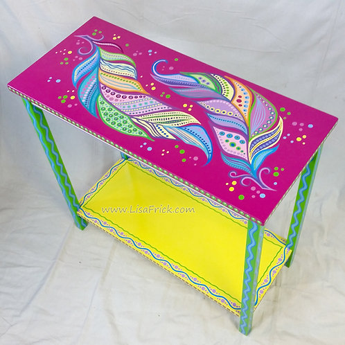 Hand Painted Feather Side Table, Preorder, Hand Painted Furniture