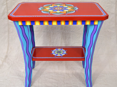 Red Mandala Side Table, Preorder, Hand Painted Furniture