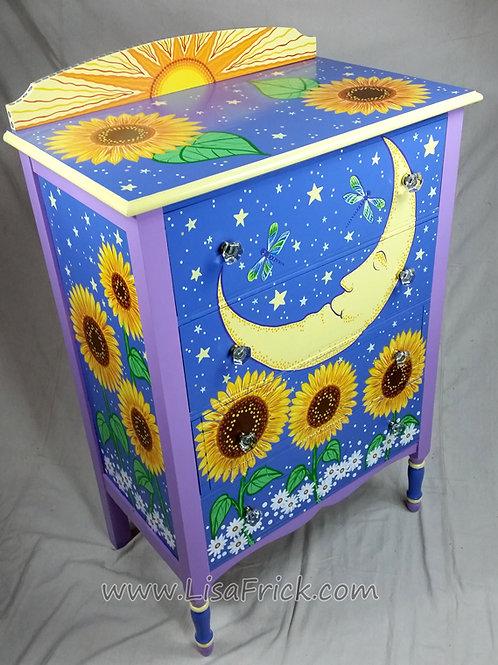 Hand Painted Sun & Moon Sunflower Dresser, Preorder, Hand Painted Furniture