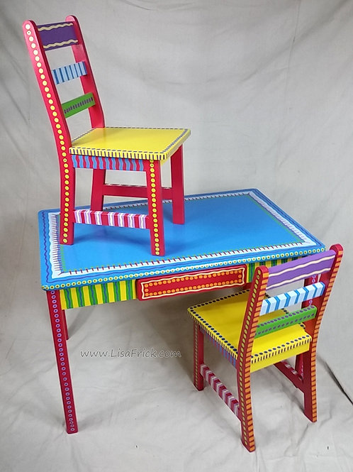 Hand Painted Childs Table and Chairs