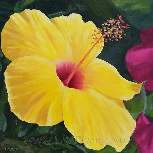 Yellow Hibiscus- Oil on Canvas