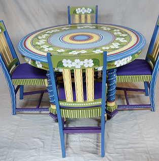 Hand Painted Dogwood Dining Table and Chairs, Preorder, Hand Painted Furniture