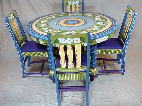 Hand Painted Dogwood Table and Chairs