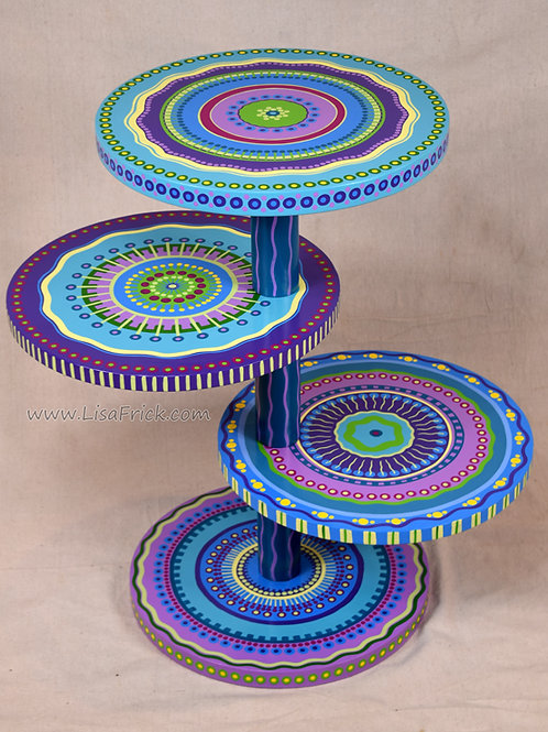 Hand Painted 4-Tier Mandala Table, Preorder, Hand Painted Furniture